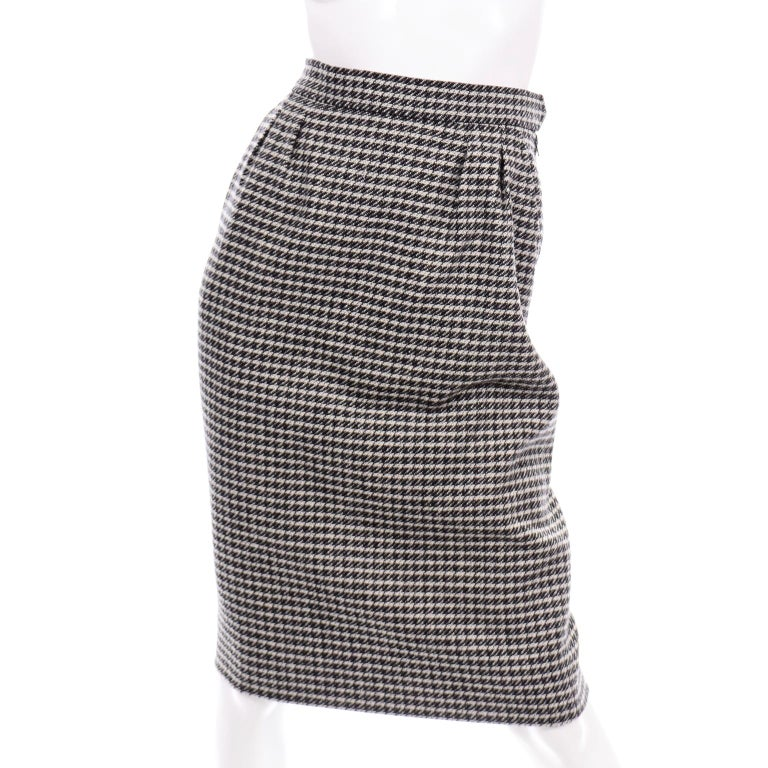 YSL Vintage Suit Houndstooth Wool Skirt Blazer Yves Saint Laurent Rive Gauche For Sale 2