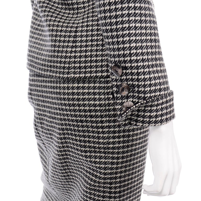 YSL Vintage Suit Houndstooth Wool Skirt Blazer Yves Saint Laurent Rive Gauche For Sale 4