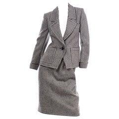 YSL Vintage Suit Houndstooth Wool Skirt Blazer Yves Saint Laurent Rive Gauche