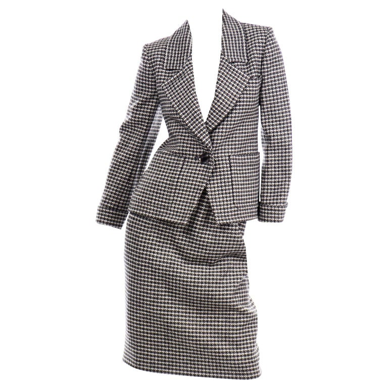 YSL Vintage Suit Houndstooth Wool Skirt Blazer Yves Saint Laurent Rive Gauche For Sale