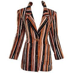 9379c8a3f43 YSL Vintage Yves Saint Laurent Rive Gauche Bamboo Print Cotton Blazer Jacket