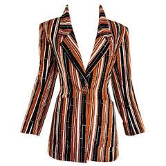 YSL Vintage Yves Saint Laurent Rive Gauche Bamboo Print Cotton Blazer Jacket