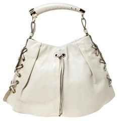 YSL Yves Saint Laurent Beige Leather Rive Gauche Mombasa Shoulder Bag