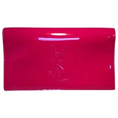 YSL Yves Saint Laurent Belle de Jour Hot Pink Patent Leather Clutch
