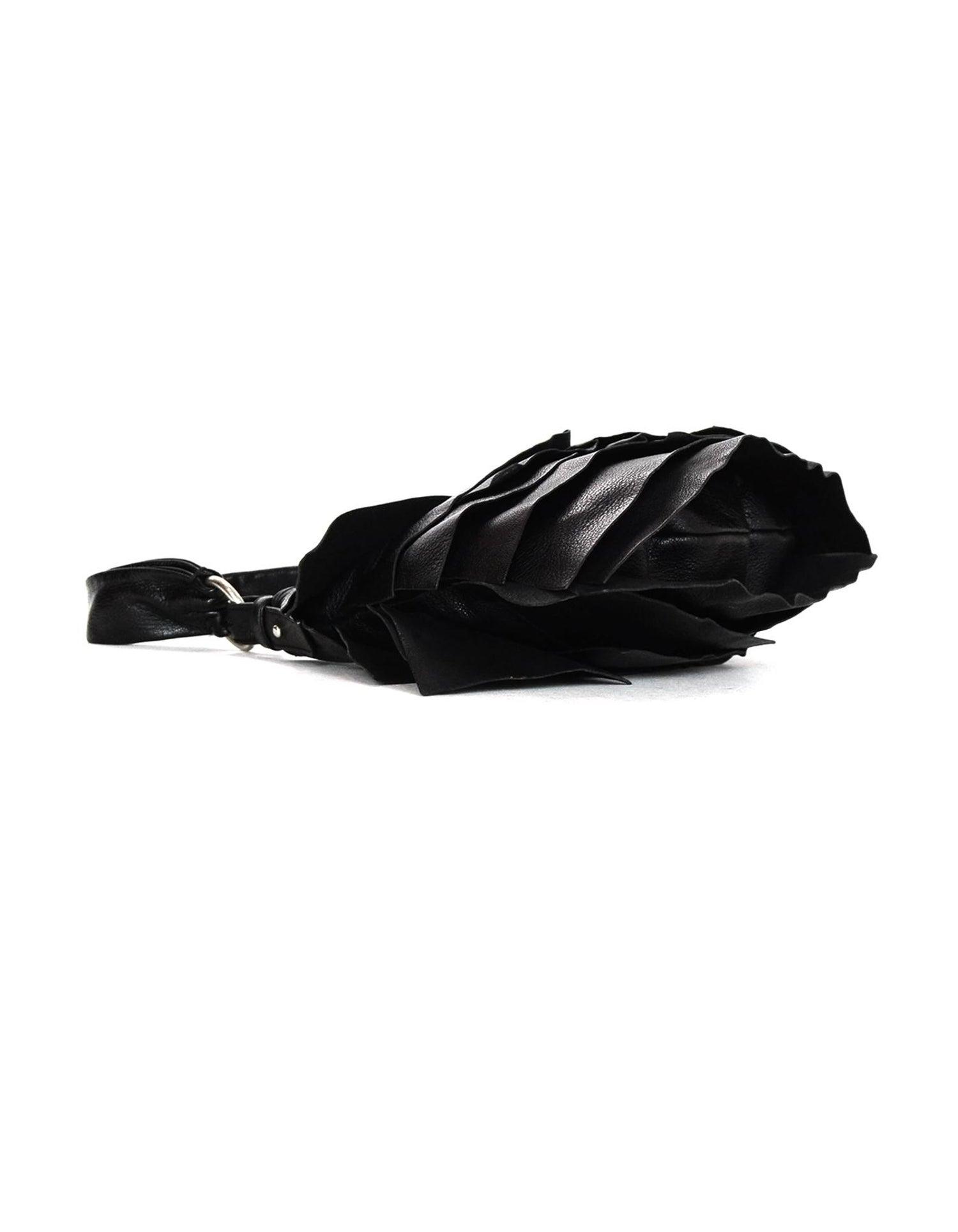 dbff79baf409 Yves Saint Laurent Ysl Leather Small St Tropez Ruffle Bag Black