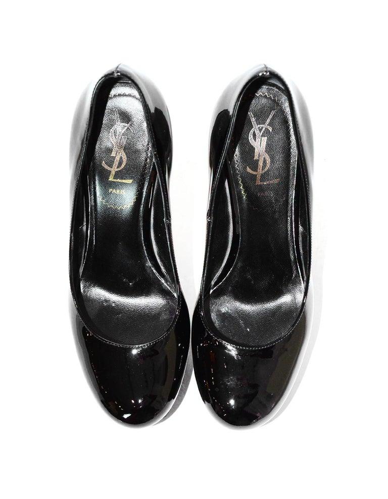 Ysl Yves Saint Laurent Black Patent Leather Tribtoo 140