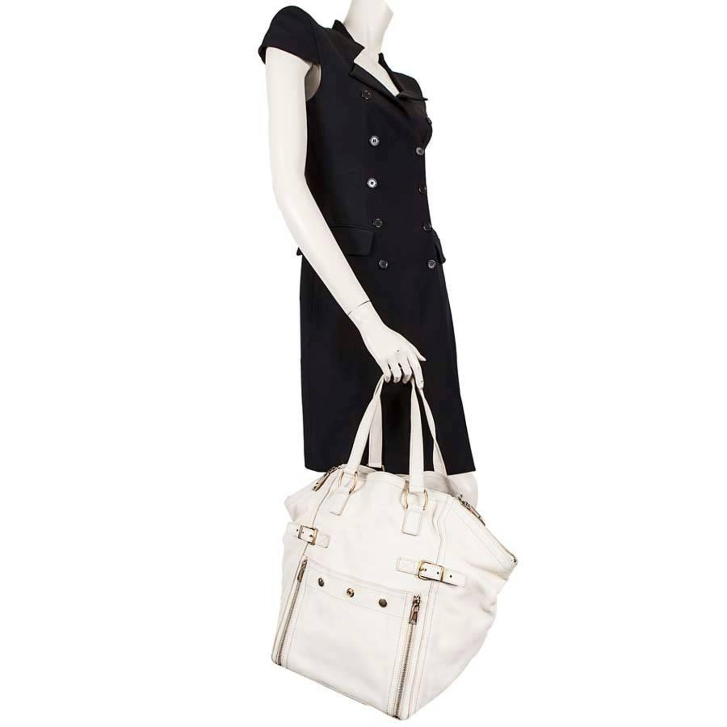 9685277ef64c YSL YVES SAINT LAURENT Down Town Bag in Beige Grained Leather For Sale at  1stdibs