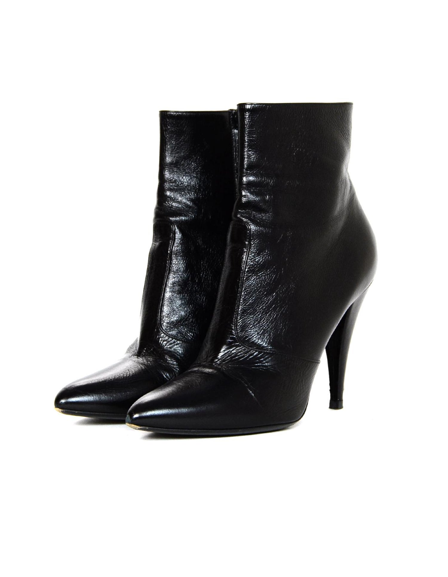 b3d7a0de173 YSL Yves Saint Laurent Fetish Black Leather Ankle Boot Sz 40 For Sale at  1stdibs