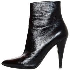 YSL Yves Saint Laurent Fetish Black Leather Ankle Boot Sz 40