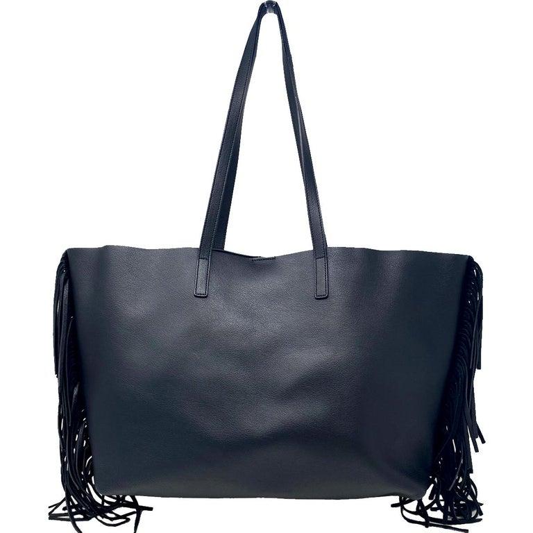 YSL Yves Saint Laurent Fringe Black Leather Tote Handbag In Good Condition For Sale In Boca Raton, FL