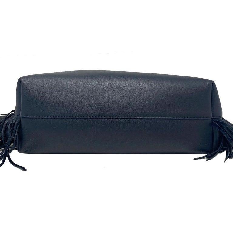 YSL Yves Saint Laurent Fringe Black Leather Tote Handbag For Sale 1