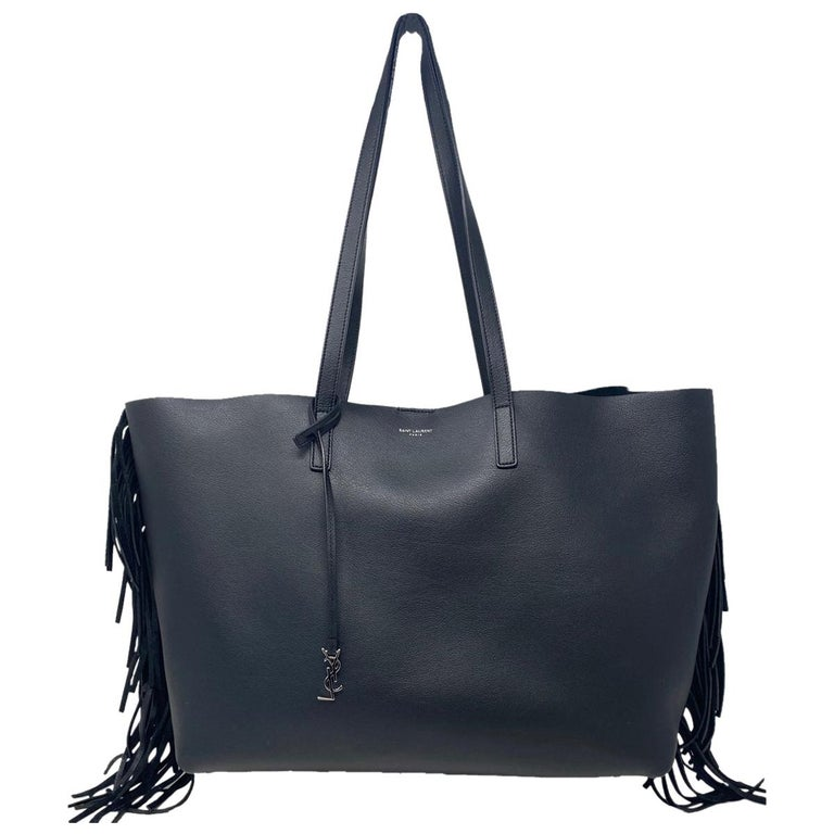 YSL Yves Saint Laurent Fringe Black Leather Tote Handbag For Sale
