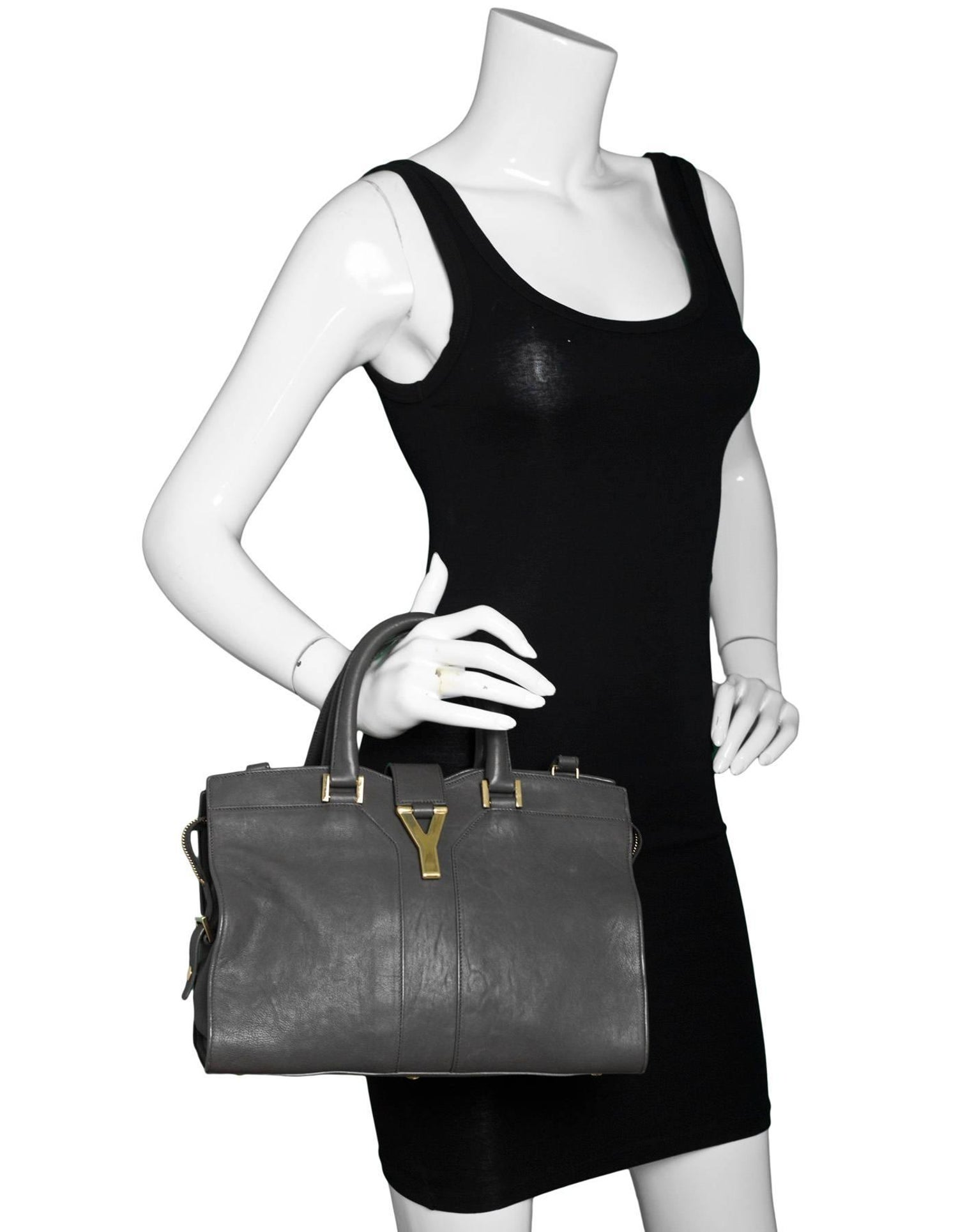 b1220d7489904 YSL Yves Saint Laurent Grey Leather Small Cabas ChYc Satchel Bag For Sale  at 1stdibs