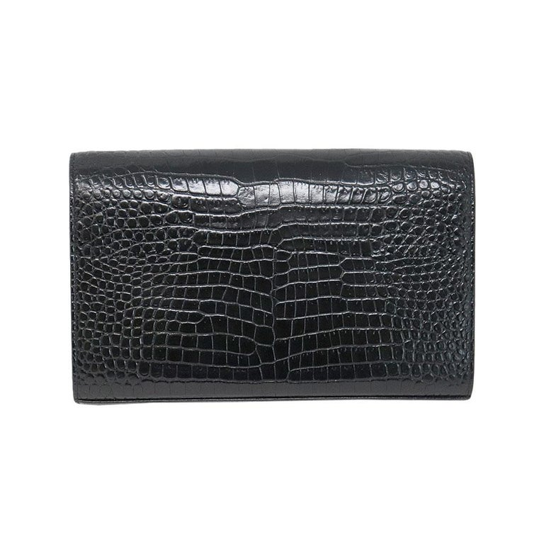 2019 best sell pretty nice skilful manufacture YSL Yves Saint Laurent Kate Croc Black Clutch SHW Bag
