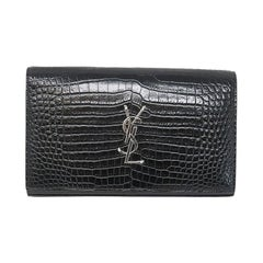 YSL Yves Saint Laurent Kate Croc Black Clutch SHW Bag