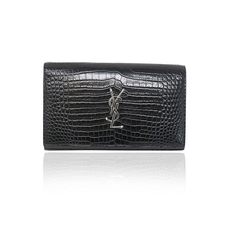 75ab0bb72be YSL Yves Saint Laurent Kate Croc Black Clutch SHW Bag For Sale at ...
