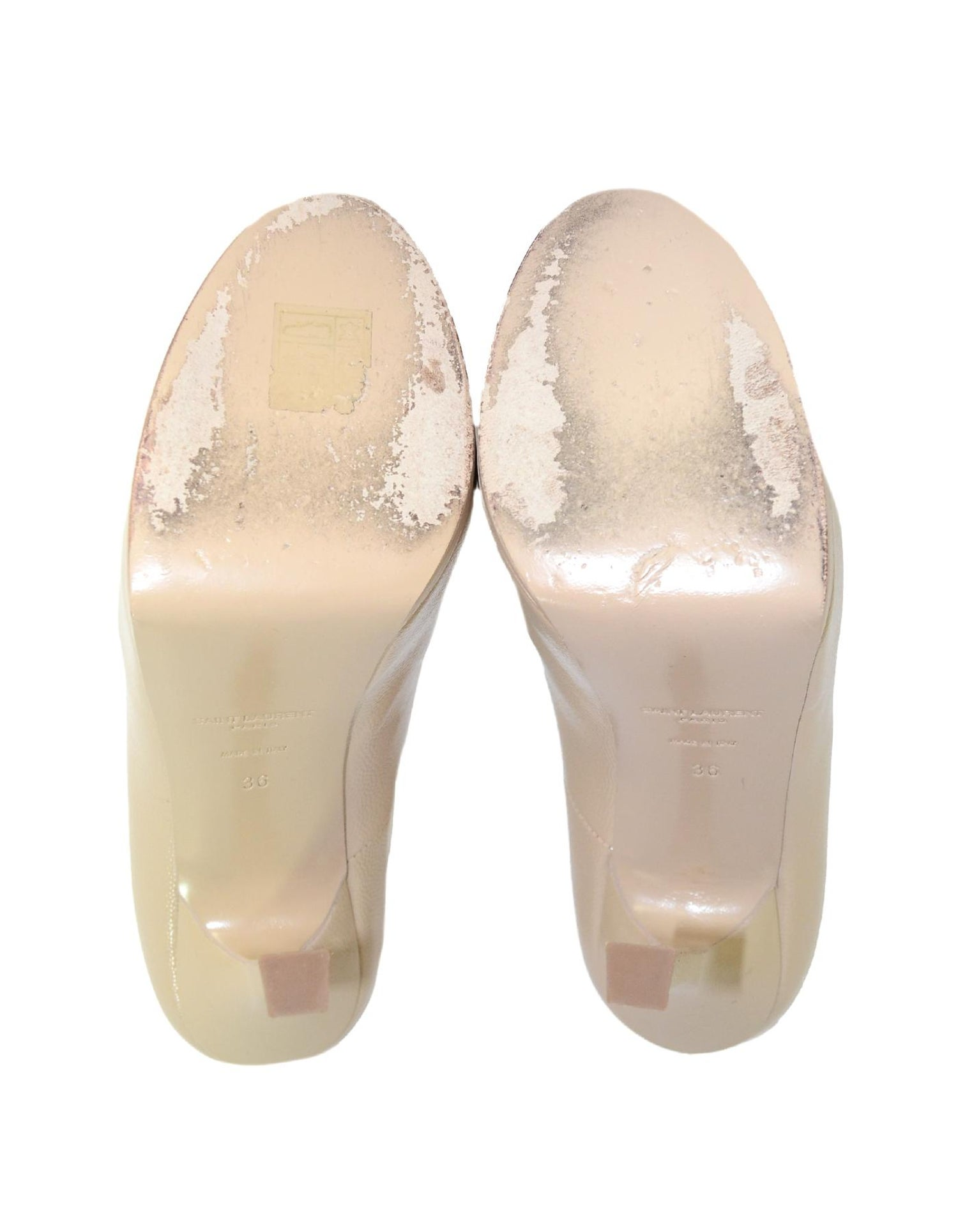 133652a9e9a YSL Yves Saint Laurent Nude Glazed Textured Leather Tribute Two 105 Pumps  Sz 36 For Sale at 1stdibs