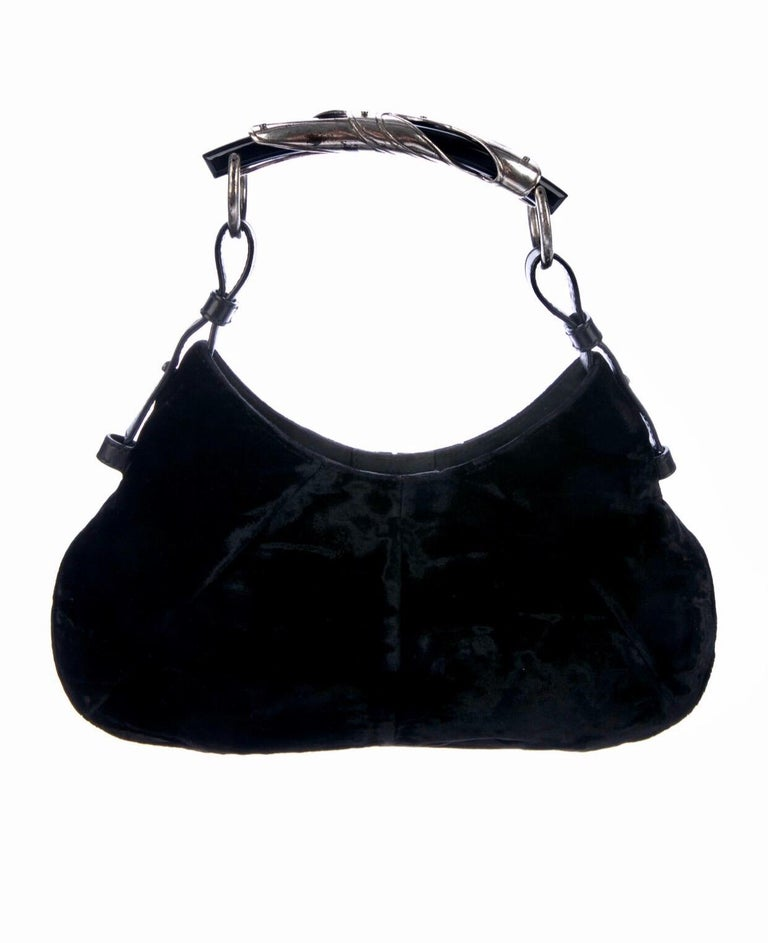 RARE COLLECTOR'S ITEM  BY TOM FORD FOR YVES SAINT LAURENT'S  ULTRAFAMOUS 2002 COLLECTION  Yves Saint Laurent Mombasa bag  Designed by Tom Ford for his collection at YSl Beautiful softest black velvet Lined with black satin fabric Single slip inner