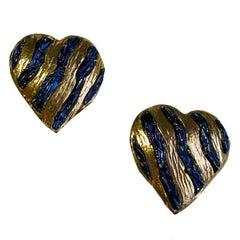 YSL YVES SAINT LAURENT Rive Gauche Heart Clip-on Earrings in Gilded Metal