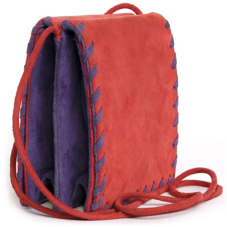 1db2d4fdb9 Women's YSL YVES SAINT LAURENT Vintage Bag in Red and Purple Suede For Sale