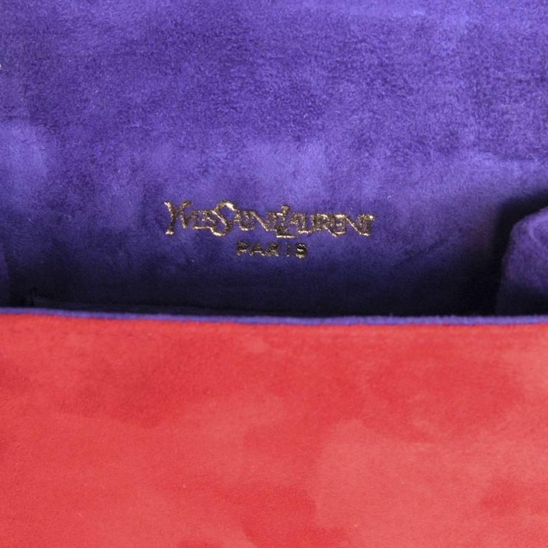 bf913fda66 YSL YVES SAINT LAURENT Vintage Bag in Red and Purple Suede For Sale 3