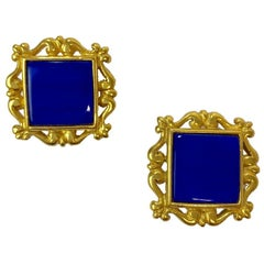 YSL YVES SAINT LAURENT Vintage Clip-on Earrings in Gilt Metal and Blue Resin