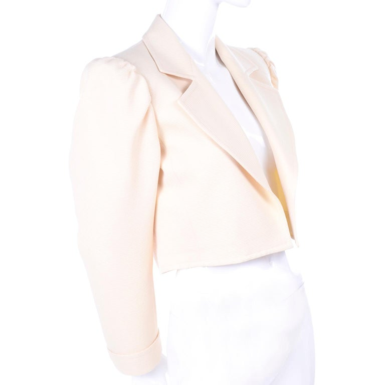 White YSL Yves Saint Laurent Vintage Cream Open Front Cropped Jacket or Blazer For Sale