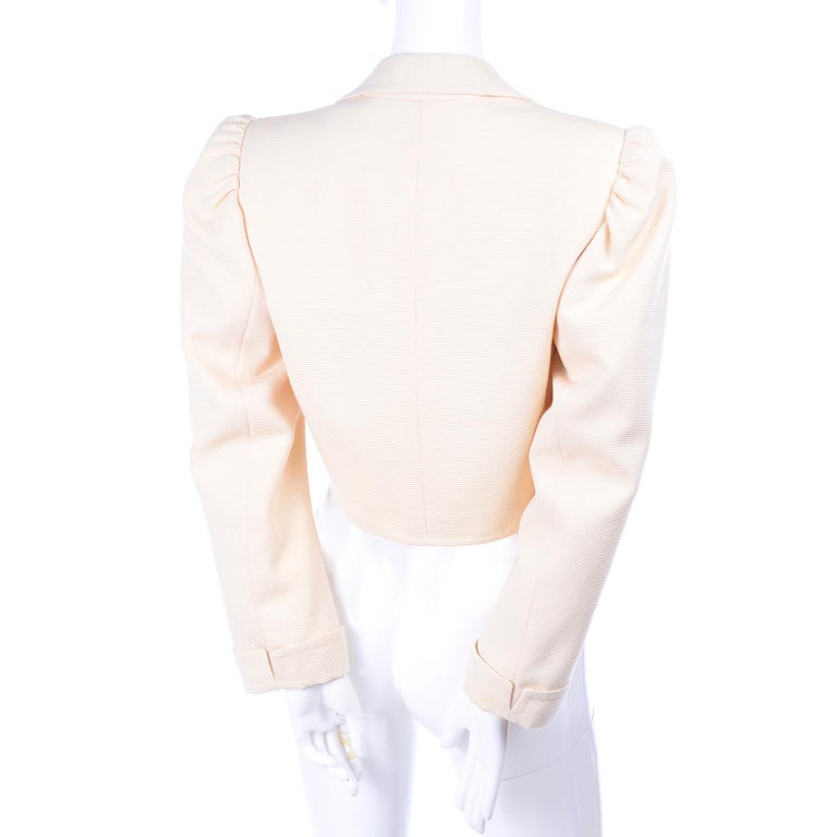 YSL Yves Saint Laurent Vintage Cream Open Front Cropped Jacket or Blazer In Excellent Condition For Sale In Portland, OR