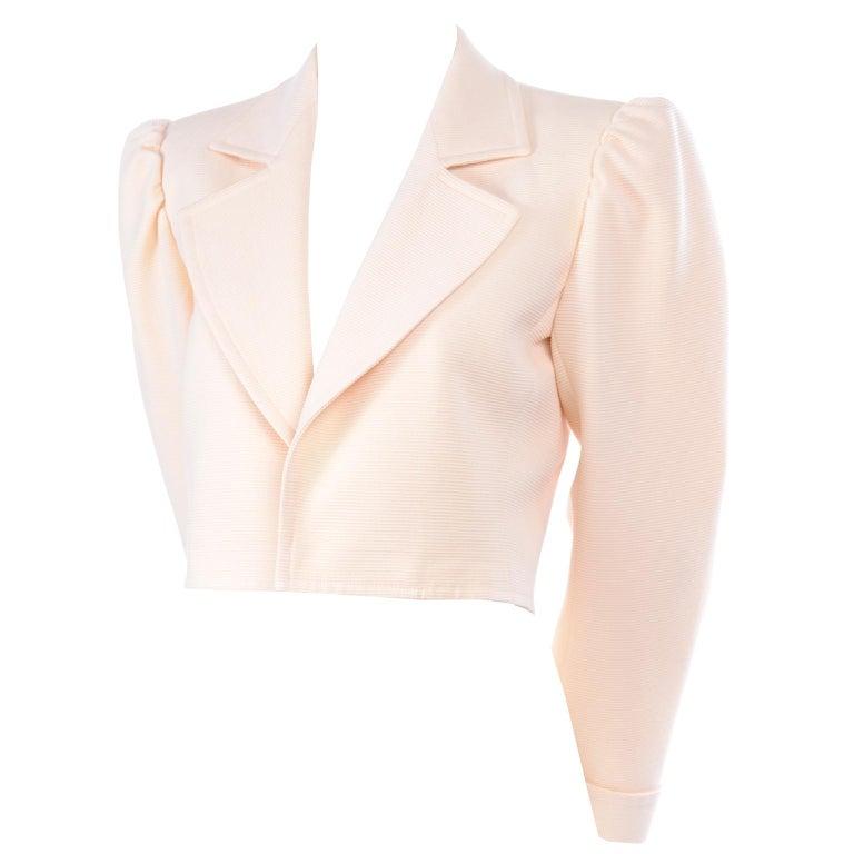 Women's YSL Yves Saint Laurent Vintage Cream Open Front Cropped Jacket or Blazer For Sale