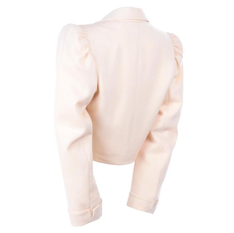 YSL Yves Saint Laurent Vintage Cream Open Front Cropped Jacket or Blazer For Sale 1