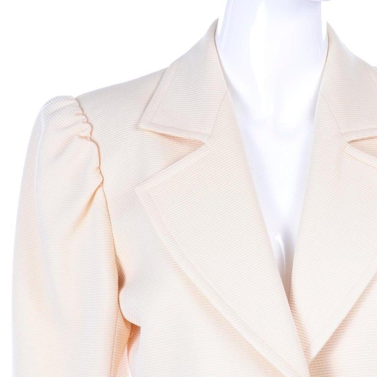 YSL Yves Saint Laurent Vintage Cream Open Front Cropped Jacket or Blazer For Sale 2