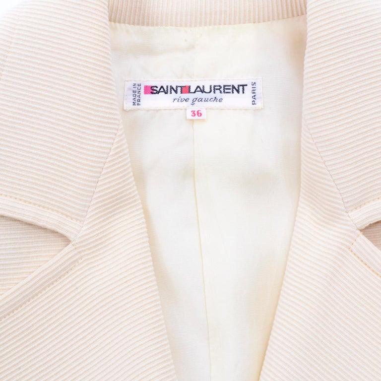 YSL Yves Saint Laurent Vintage Cream Open Front Cropped Jacket or Blazer For Sale 4
