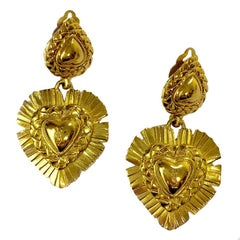 YSL YVES SAINT LAURENT Vintage Pendant Clip-on Earrings in Gilt Metal