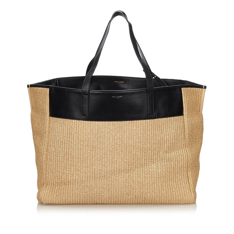 24212321849 YSL Beige Straw Tote Bag For Sale at 1stdibs