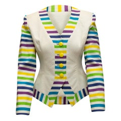 YT by Travilla White & Multicolor Collarless Jacket