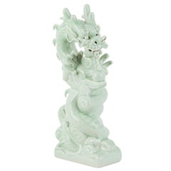 Yu Dragon Handcrafted Porcelain Hand Painted Mint Green
