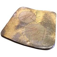 Yu Fujiwara Signed Heavy Japanese Bizen-Yaki Ware Pottery Slab Kashiki Tea Plate