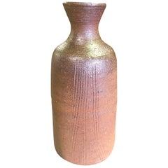 Yu Fujiwara Signed Japanese Bizen-Yaki Ware Pottery Bottle Vase with Signed Box