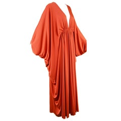 Yuki Vintage  Draped Orange Jersey Art Deco Maxi Kaftan Dress, 1970s