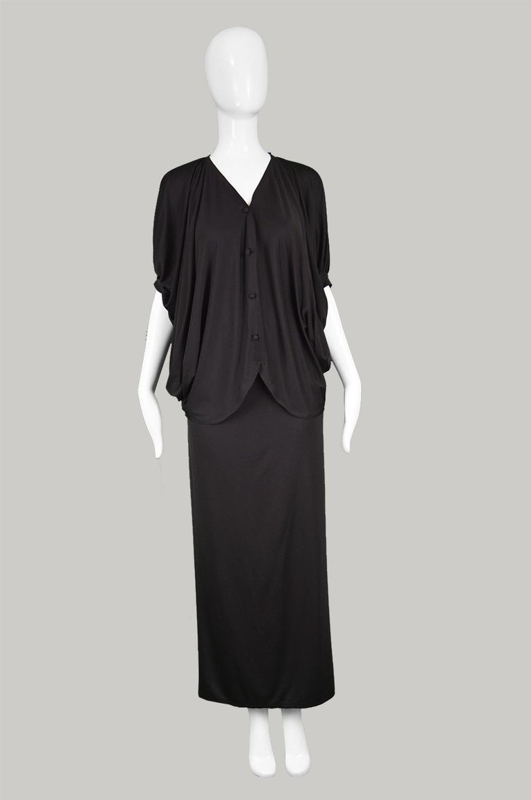 Black Yuki Vintage 2 Piece Draped Jersey Extreme Batwing Maxi Skirt Suit, 1970s For Sale