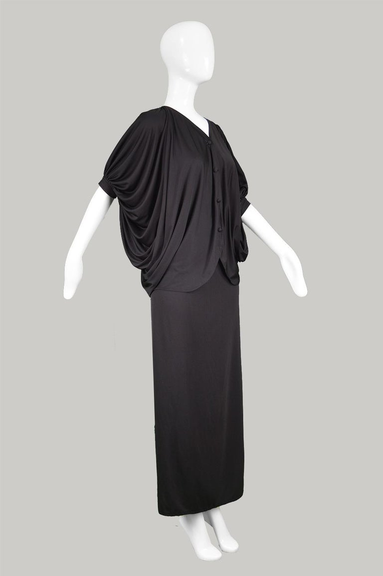 Women's Yuki Vintage 2 Piece Draped Jersey Extreme Batwing Maxi Skirt Suit, 1970s For Sale