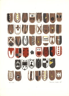 1965 Yukihisa Isobe 'Crests Series' Contemporary Red,Brown USA Lithograph