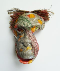 Bonobo - Contemporary Mixed Media Animal Sculpture from Up-cycled Materials