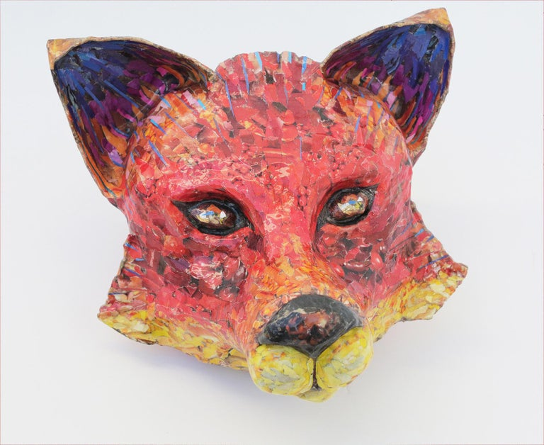 For Fox Sake - Free Standing Animal Sculpture in Red + Yellow + Purple - Gray Figurative Sculpture by Yulia Shtern
