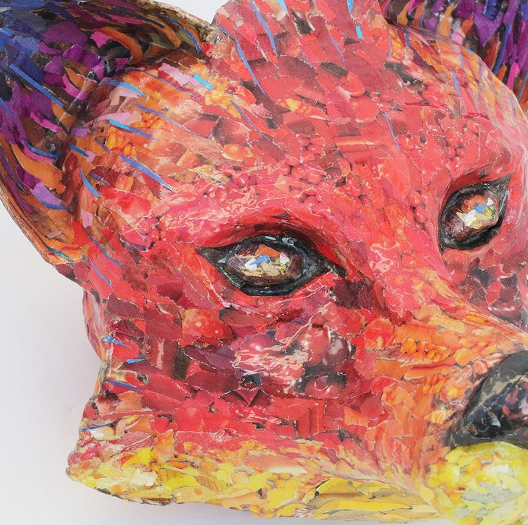 For Fox Sake - Free Standing Animal Sculpture in Red + Yellow + Purple For Sale 1