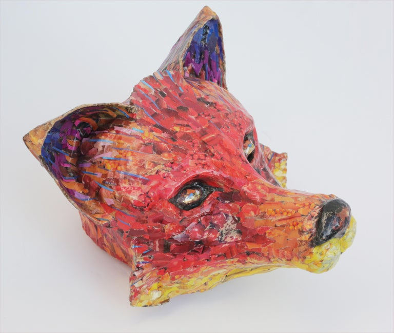 For Fox Sake - Free Standing Animal Sculpture in Red + Yellow + Purple For Sale 2