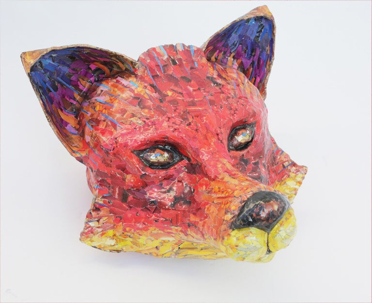 Yulia Shtern Figurative Sculpture - For Fox Sake - Free Standing Animal Sculpture in Red + Yellow + Purple