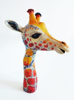 Cassandra - Contemporary Up-cycled Animal of Giraffe Sculpture in Yellow + Orang