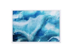 Blue Untitled, Blue and White Epoxy Interior Abstract Painting