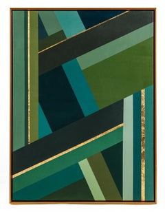 Green geometry 1 - Interior Green and Gold Abstract Geometric Painting